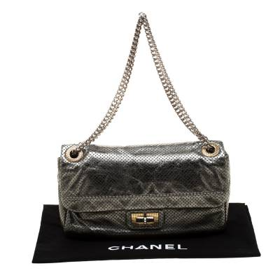 Chanel Metallic Green Perforated Leather Reissue Drill Flap Bag 187275 - 9