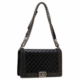 Chanel Black Quilted Leather Medium Interlaced Chains Boy Flap Bag 195394
