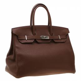 Hermes Brown India Clemence Leather Palladium Hardware Birkin 35 Bag 198541