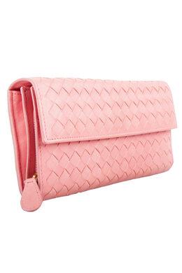 Bottega Veneta Pink Intrecciato Leather Continental Wallet 201714