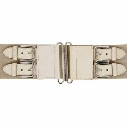 Dolce & Gabbana Beige Canvas and Leather Elastic Waist Belt 90CM 201743