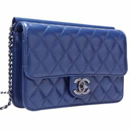 Chanel Blue Leather Medium Crossing Time Flap Bag 201780