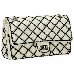 Chanel White/Black Sequinned Mesh Limited Edition 2.55 Reissue Flap Bag 201784