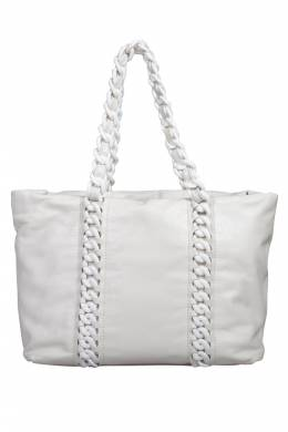 Chanel White Leather Modern Chain Rhodoid Tote 201799