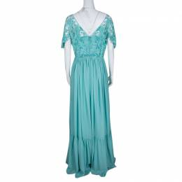 Zuhair Murad Aqua Blue Floral Embellished Embroidered Bodice Detail Gown M 139966