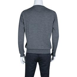 Prada Grey Slub Knit Long Sleeve Crew Neck Sweater L 138195