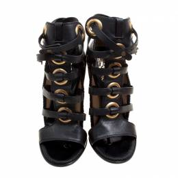 Salvatore Ferragamo Black Leather Shyla Gladiator Sandals Size 37.5 165880