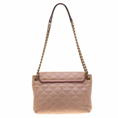 Marc Jacob Peach/Red Quilted Leather and Python Trim Flap Bag Marc Jacobs 186940 - 3