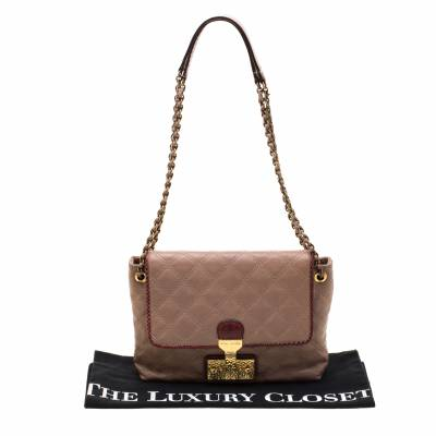 Marc Jacob Peach/Red Quilted Leather and Python Trim Flap Bag Marc Jacobs 186940 - 5