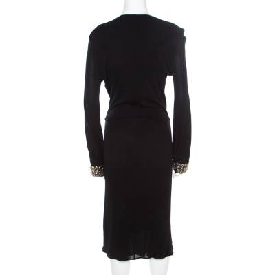 Roberto Cavalli Black Embellished Trim Long Sleeve Plunge Neck Dress M 186722 - 2