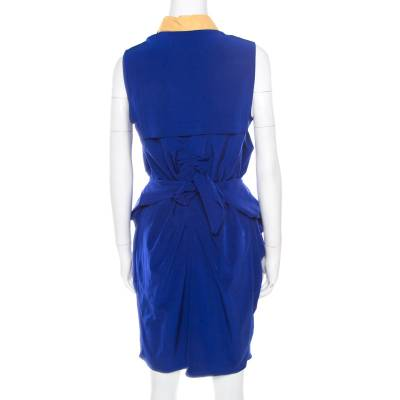 Carven Blue Contrast Collar Front Tie Detail Sleeveless Dress M 186720 - 2
