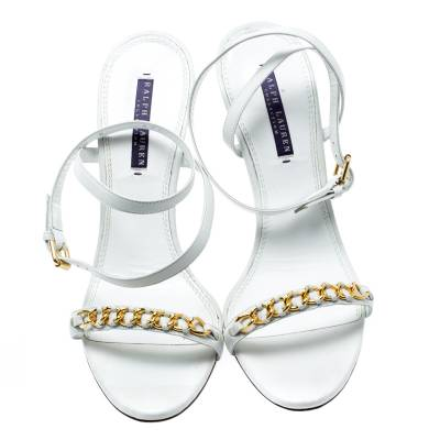Ralph Lauren White Leather Chain Detail Ankle Wrap Wedge Sandals Size 40 185367 - 2