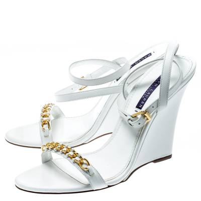Ralph Lauren White Leather Chain Detail Ankle Wrap Wedge Sandals Size 40 185367 - 3