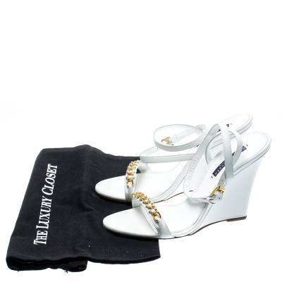 Ralph Lauren White Leather Chain Detail Ankle Wrap Wedge Sandals Size 40 185367 - 7