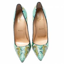 Christian Louboutin Multicolor Hand Painted Python Leather So Kate Pointed Toe Pumps Size 38.5 193932