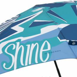 Burberry Blue Nylon Rain or Shine Print Umbrella 201678