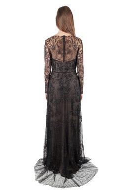 Monique Lhuillier Noir Black Embellished Long Sleeve Evening Gown S 201762