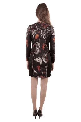 Monique Lhuillier Black Abstract Print Silk Blend Long Sleeve Sheath Dress S 201648