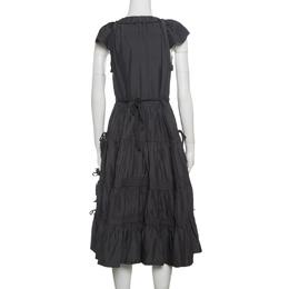 Marc Jacobs Grey Plunge Neck Ruffled Tie Detail Silk Dress S 141218