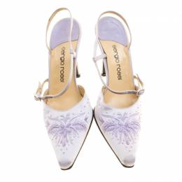 Sergio Rossi Lilac Satin Embroidered Slingback Sandals Size 38 135113