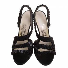 Salvatore Ferragamo Black Sequins Embellished Satin Lucente Strappy Sandals Size 39.5 112636
