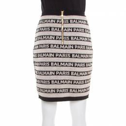 Balmain Beige and Black Jacquard Logo Knit Striped Bodycon Skirt M 181459