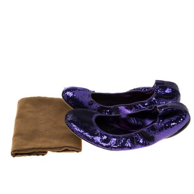 Gucci Purple Sequined Scrunch Ballet Flats Size 38 186769 - 7
