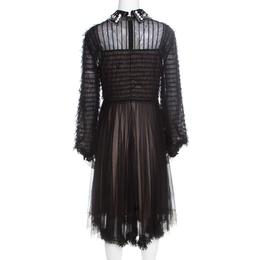 Valentino Black and Beige Embellished Ruffled Bodice Detail Dress S 195910