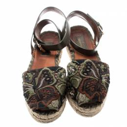Valentino Olive Embroidered And Leather Ankle Strap Espadrille Sandals Size 36 195902