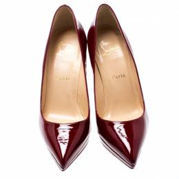 Christian Louboutin Maroon Patent Leather Pigalle Plato Platform Pumps Size 37.5 195807