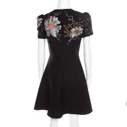 Valentino Black Floral Applique Embellished Wool and Silk Dress S 196032