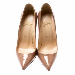 Christian Louboutin Beige Patent Leather Pigalle Pumps Size 35.5 198727