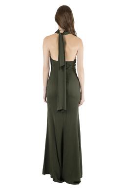 Valentino Olive Green Silk Ruffled Neck Halter Maxi Dress S 203976