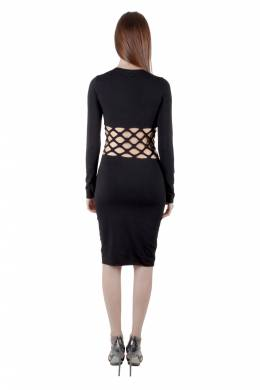 Jean Paul Gaultier Soleil Black Cotton Jersey Distressed Waist Bodycon Dress S 203598