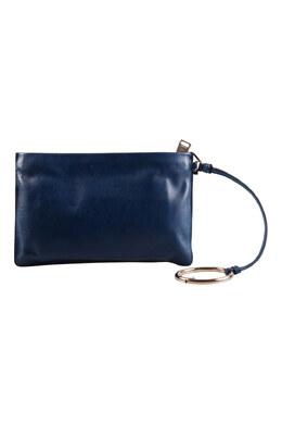 Jil Sander Navy Blue Leather Noyce Clutch 203600