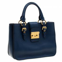 Miu Miu Royal Blue Leather Madras Top Handle Bag 204523