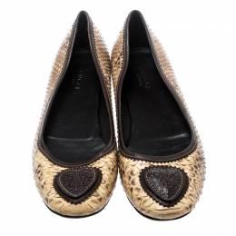 Gucci Beige Python Marrom Hysteria Ballet Flats Size 39 193301