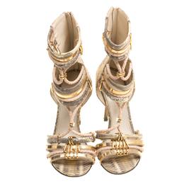 Sergio Rossi Metallic Beige Mix Exotic Leather Braid Detail Peep Toe Sandals Size 36.5 156153