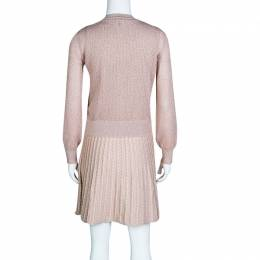 M Missoni Blush Pink Lurex Knit Patterned Dress and Perforated Cardigan Set M 133554