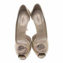 Valentino Beige Patent Leather Rose Brooch Peep Toe Platform D'orsay Pumps Size 36.5 161383