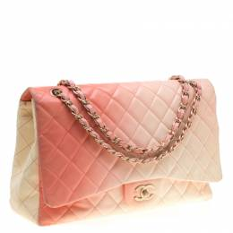 Chanel Off-White/Ombre Quilted Leather Maxi Classic Single Flap Bag 182629