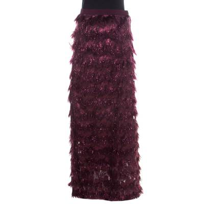 Max Mara Purple Metallic Jacquard Faux Feather Fringed Maxi Skirt S 186728 - 3