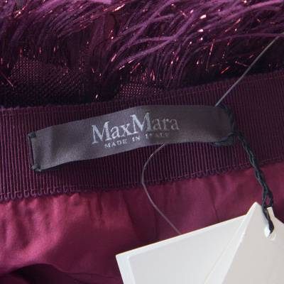 Max Mara Purple Metallic Jacquard Faux Feather Fringed Maxi Skirt S 186728 - 5