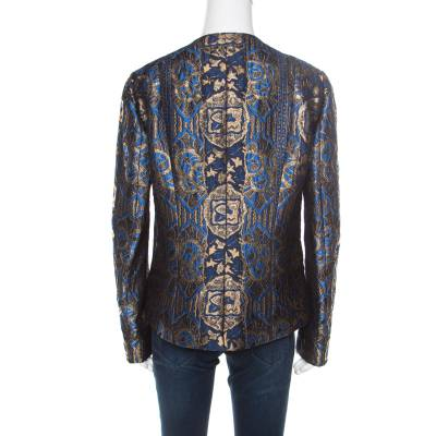 Etro Blue and Gold Lurex Embroidered Jacquard Jacket L 185870 - 2