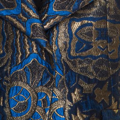 Etro Blue and Gold Lurex Embroidered Jacquard Jacket L 185870 - 3