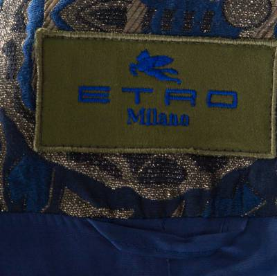 Etro Blue and Gold Lurex Embroidered Jacquard Jacket L 185870 - 4