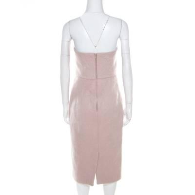 Max Mara Blush Pink Alpaca Fur Strapless Razza Dress S 186739 - 2
