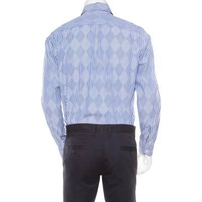 Etro Blue and White Striped Argyle Pattern Cotton Jacquard Long Sleeve Shirt M 186082 - 2