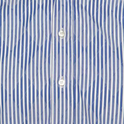 Etro Blue and White Striped Argyle Pattern Cotton Jacquard Long Sleeve Shirt M 186082 - 3