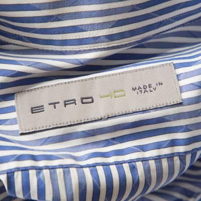 Etro Blue and White Striped Argyle Pattern Cotton Jacquard Long Sleeve Shirt M 186082 - 4